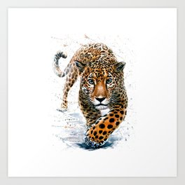 Jaguar walk in the jungle - Leopard watercolor hand painted illustration Art Print