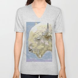 White buffalo calf Unisex V-Neck