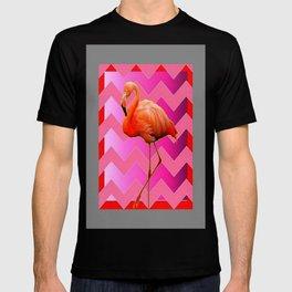 decorative Pink Art Deco Flamingo Grey DESIGN T-shirt