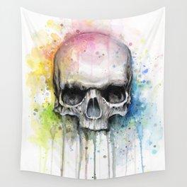 Skull Rainbow Watercolor Wall Tapestry