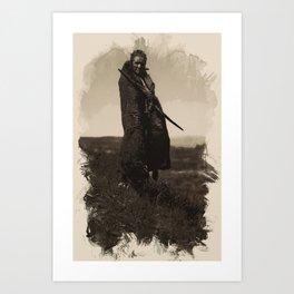 Native American Indian Portrait Profile Series - A Grizzly Bear Brave No 5 Art Print
