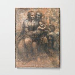 Leonardo da Vinci - Virgin and Child with Ss Anne and John the Baptist Metal Print