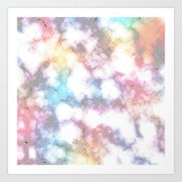 Blurred Rainbow Clouds: Faux Marble Pattern Art Print