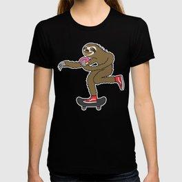 Skater Sloth loves donut T-shirt