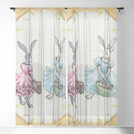 Dressed Easter Bunnies 2 Sheer Curtain