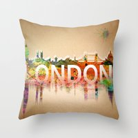 london Throw Pillows featuring London  by mark ashkenazi