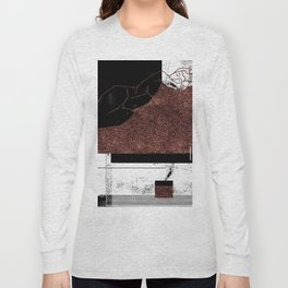 Pink Glitter Nude One Line Long Sleeve T-shirt