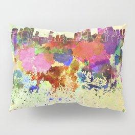 Tel Aviv skyline in watercolor background Pillow Sham
