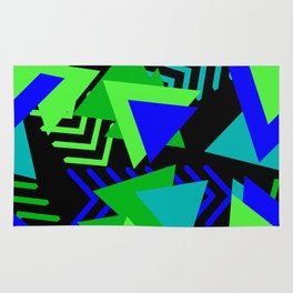 Abstract Triangles in Lime, Blue and Black Rug
