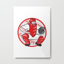 Baseball Catcher Catching Cartoon Metal Print