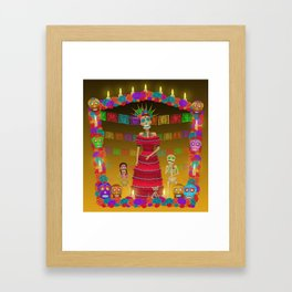 Yellow Ómbre Day of the Dead Framed Art Print