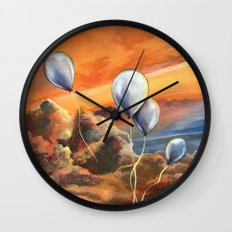 Balloons in the Sunset Wall Clock