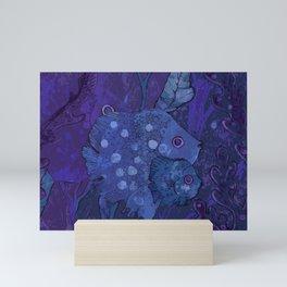 Fish Family in Seaweed, Blue & Violet Mini Art Print