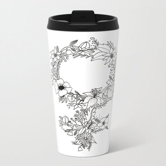 Feminist Flower  2.0 Metal Travel Mug