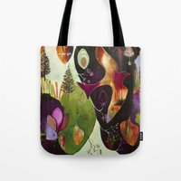 "flora bowley Tote Bags featuring ""Deep Peace"" Original Painting by Flora Bowley by Flora Bowley"