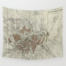1893 Historic Map of St. Petersburg Wall Tapestry