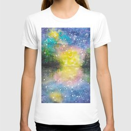 Crescent Moon Reflection Galaxy watercolor by CheyAnne Sexton T-shirt