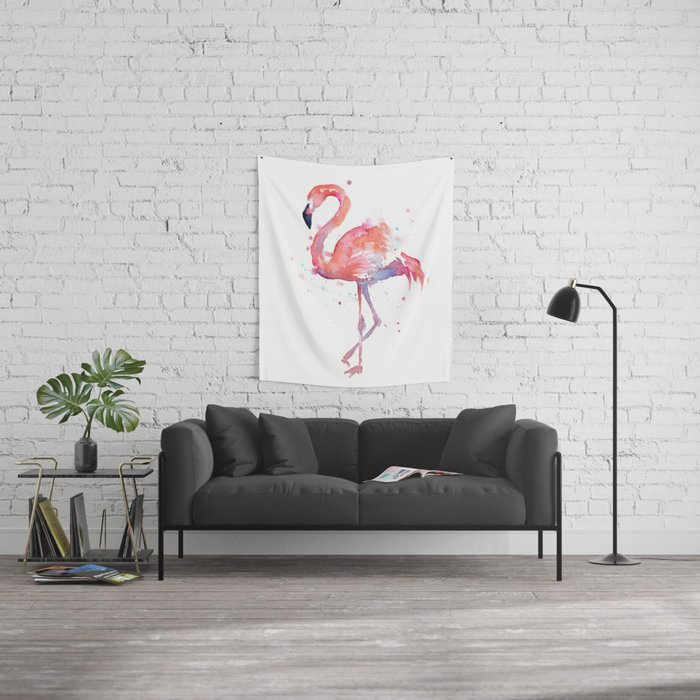 Flamingo Watercolor Wall Tapestry