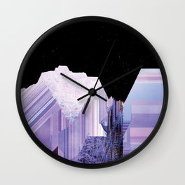 Glitch Valley at Night Wall Clock