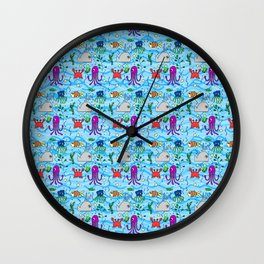 under the sea, whale, octopus, crab, fish, ocean, water,pattern,jellyfish Wall Clock