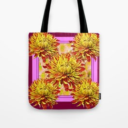 Stylized Abstracted Burgundy Yellow Chrysanthemums Floral Tote Bag