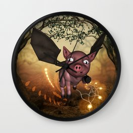 Funny little piglet with wings Wall Clock