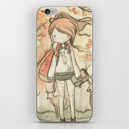 Autumn girl iPhone Skin