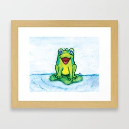 Happy Frog - Watercolor Framed Art Print