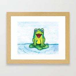 Happy Frog - Watercolor Framed Art Print