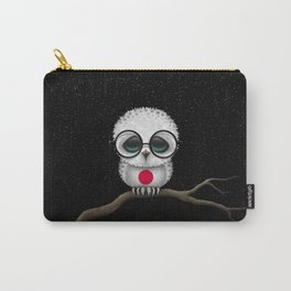 Baby Owl with Glasses and Japanese Flag Carry-All Pouch