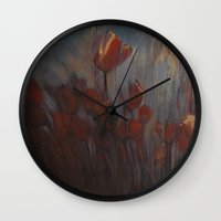 tulips Wall Clocks featuring tulips by Maria Enache