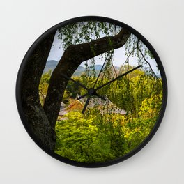 Beautiful garden at Tenryu-ji temple, Kyoto, Japan Wall Clock