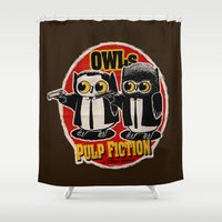 tarantino Shower Curtains featuring Owls Pulp Fiction by Lime