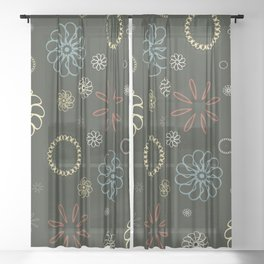Assorted Flowers V2 Sheer Curtain