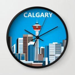 Calgary, Alberta, Canada - Skyline Illustration by Loose Petals Wall Clock