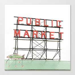 Public Market Seattle Pike Street Fish Neon Sign Northwest Washington Canvas Print