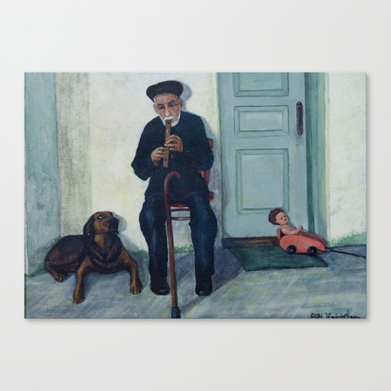 Grandpa, a recorder and Foreo Canvas Print
