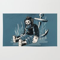 anchors Area & Throw Rugs featuring Anchors Aweigh by Chase Kunz