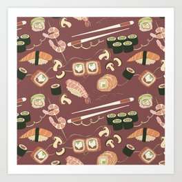 I love sushi and I cannot lie pattern Art Print