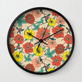 Potentillas and Daisies Wall Clock