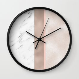 Cloudy marble on golden rose Wall Clock