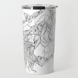 aerial yoga abstract lotus outlines // coloring page Travel Mug