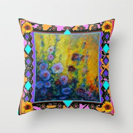Blue Hollyhock Painting in Western Style Design Throw Pillow