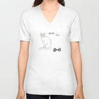 caleb troy V-neck T-shirts featuring No Exercise Cat by Caleb Croy by UCO Design