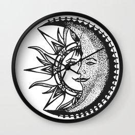 'El Sol Y La Luna' Sun and Moon Original Art, Space Wall Decor Wall Clock
