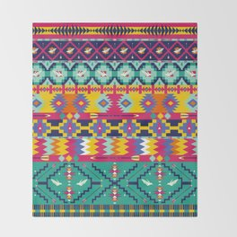Seamless colorful aztec pattern with birds Throw Blanket