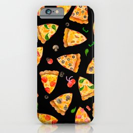 Watercolor Pizza Pattern Fast Food On Black iPhone Case
