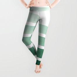 Deep Aqua Green Midcentury Modern Minimalist Staggered Stripes Rectangle Geometric Aztec Pattern Wat Leggings