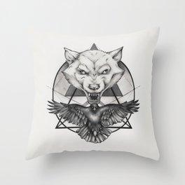 Wolf and Crow - Emblem Throw Pillow