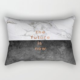 The Future Is Now, Black White Marble Rectangular Pillow